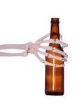 De hand van de fles en van het skelet Royalty-vrije Stock Afbeeldingen