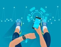 De hand van de geschiktheidsvrouw met het dragen van horlogeband smartwatch Stock Afbeeldingen