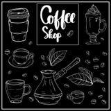 De hand van de koffiewinkel het van letters voorzien ontwerp voor menu, affiche vector illustratie