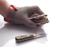 De hand van de kok houdt een open oester royalty-vrije stock afbeelding