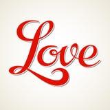 De hand van de liefde het van letters voorzien Stock Foto