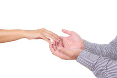 De hand van de man en van de vrouw wat betreft vinger Royalty-vrije Stock Fotografie