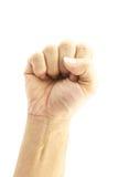 De hand van de mens maakt signaalvuist Stock Foto's
