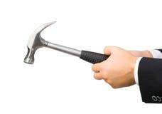 De hand van de mens met hamer Stock Afbeelding