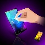 De hand van de mens raakt sensorische telefoon. Royalty-vrije Stock Fotografie