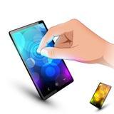 De hand van de mens raakt sensorische telefoon op wit Royalty-vrije Stock Foto