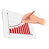 De hand van de mens trekt de groeivooruitgang 2 Stock Afbeeldingen