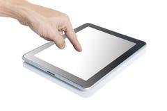De hand van de mens wat betreft digitale tablet Stock Afbeeldingen