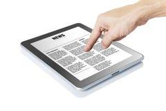 De hand van de mens wat betreft digitale tablet Royalty-vrije Stock Fotografie