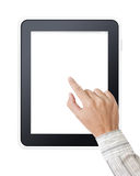 De hand van de mens wat betreft het scherm op moderne digitale tablet Stock Foto