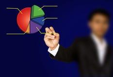 De hand van de onderneemster schrijft grafiek Stock Afbeelding