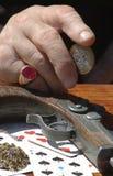 De hand van de speler Stock Afbeeldingen