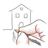 De hand van de tekening (vector) Stock Foto's