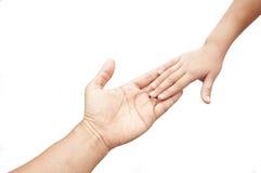 De hand van de vader en kindhand Stock Fotografie