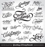 De hand van de vakantie het van letters voorzien reeks () Stock Foto