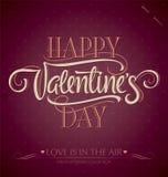 De hand van de valentijnskaart het van letters voorzien () Stock Foto's