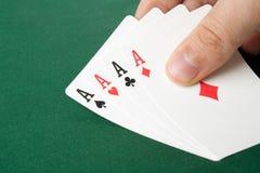 De hand van de vier azenpook Royalty-vrije Stock Afbeeldingen