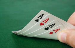 De hand van de vier azenpook Royalty-vrije Stock Fotografie