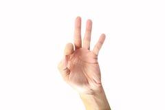 De hand van de vrouw die op wit wordt geïsoleerdu Stock Afbeeldingen