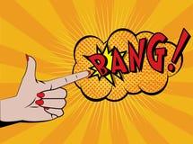 De hand van de vrouw het schieten Strippaginastijl Stock Afbeelding