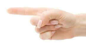 De hand van de vrouw met het richten van geïsoleerden vinger   Stock Afbeelding