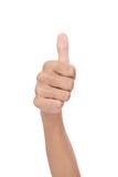 De hand van de vrouw met omhoog duim Royalty-vrije Stock Afbeeldingen