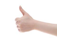 De hand van de vrouw met omhoog duim Stock Fotografie