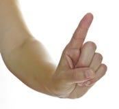 De hand van de vrouw met omhoog vinger Royalty-vrije Stock Afbeeldingen