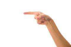 De hand van de vrouw tonen die vinger richten Stock Foto