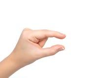 De hand van de vrouw toont snuifje om te zoemen Stock Fotografie