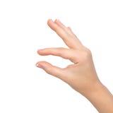 De hand van de vrouw toont snuifje om te zoemen Stock Afbeelding