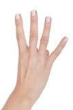 De hand van de vrouw toont vinger vier Stock Foto