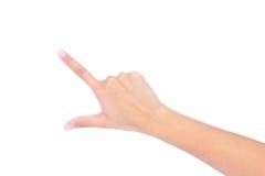 De hand van de vrouw wat betreft het virtuele scherm. royalty-vrije stock foto