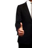 De hand van de zakenman met een opgeheven omhoog vinger Stock Afbeeldingen