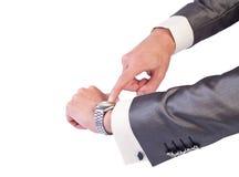 De hand van de zakenman met horloge Royalty-vrije Stock Foto's