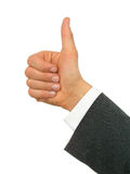 De Hand van de zakenman met omhoog Duim royalty-vrije stock afbeelding