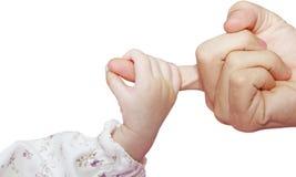 De hand van de zuigeling stock afbeelding