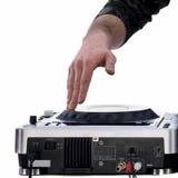 De hand van DJ het spelen op mixer Royalty-vrije Stock Fotografie