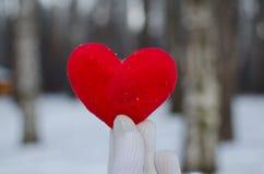 De hand van een man of een vrouw in een witte handschoen houdt een rood hart in het de winterbos tegen de witte sneeuw royalty-vrije stock afbeelding