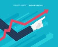 De hand van een zakenman benadrukt, de groeigrafiek Door:sturen aan succes Vinger die richting richten Succes, groeipercentages vector illustratie
