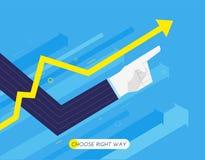 De hand van een zakenman benadrukt, de groeigrafiek Door:sturen aan succes Vinger die richting richten Succes, groeipercentages stock illustratie