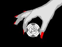 De hand van Grunge van damegeluk Royalty-vrije Stock Afbeelding
