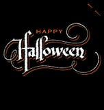 De hand van Halloween het van letters voorzien Stock Foto's