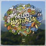 De hand van Hello Australië het van letters voorzien en het embleem van van krabbelselementen en symbolen Stock Fotografie