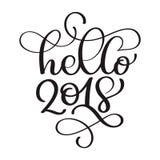 De hand van Hello 2018 het van letters voorzien inschrijving aan de groetkaart van de de wintervakantie, het citaat van de de kal stock illustratie