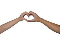De hand van het hart door mannen en vrouwen Stock Foto