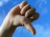 De hand van het het gebaarkind van de verwerping stock fotografie