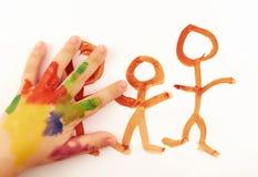 De hand van het kind Stock Foto