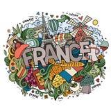 De hand van het land van Frankrijk het van letters voorzien en krabbelselementen