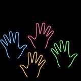 De hand van het neon Stock Foto's